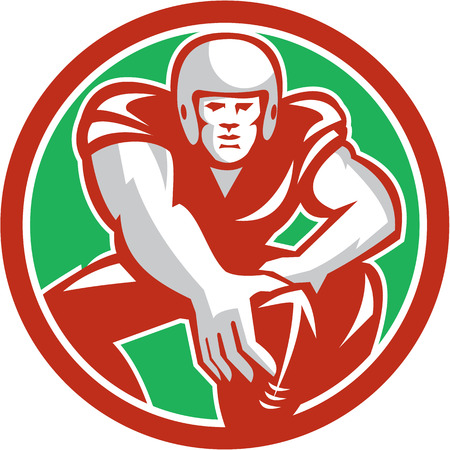 snaps: Illustration of an american football player in snap position viewed from front set inside circle on isolated background done in retro style.
