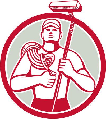 クリーナー ロープとスキージを運ぶ高層ウィンドウの図は、レトロなスタイルで行われる分離の背景に円の中に設定正面から見てください。  イラスト・ベクター素材