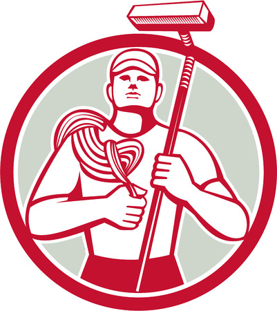 Illustration of a high rise window cleaner carrying rope and squeegee viewed from front set inside circle on isolated background done in retro style.