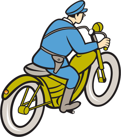 highway patrol: Illustration of a highway patrol policeman police officer riding a motorbike viewed from the side on isolated white background done in cartoon style.