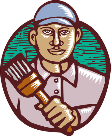 house painter: Illustration of a house painter holding paintbrush facing front done in retro woodcut linocut style. Illustration