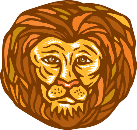 facing: Illustration of an lion big cat head facing front on isolated white background done in retro woodcut linocut style. Illustration