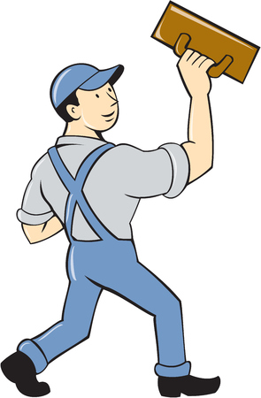 plasterer: Illustration of a plasterer masonry tradesman construction worker standing with trowel looking to the side viewed from rear set on isolated white background done in cartoon style.