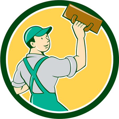 tradesman: Illustration of a plasterer masonry tradesman construction worker standing with trowel looking to the side viewed from rear set inside circle on isolated background done in cartoon style.