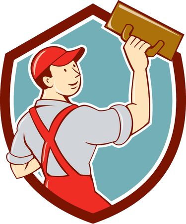 plasterer: Illustration of a plasterer masonry tradesman construction worker standing with trowel looking to the side viewed from rear set inside shield crest on isolated background done in cartoon style. Illustration