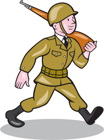 world war two: Illustration of a World War two American soldier serviceman marching with assault rifle viewed from side on isolated white background  done in cartoon style. Illustration
