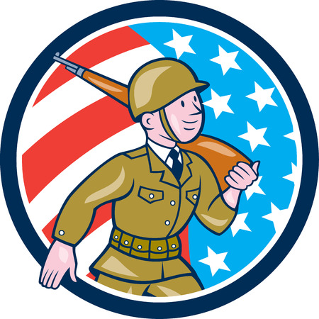 world war two: Illustration of a World War two American soldier serviceman marching with assault rifle viewed from side set inside circle with American Stars and stripes flag in the background done in cartoon style. Illustration