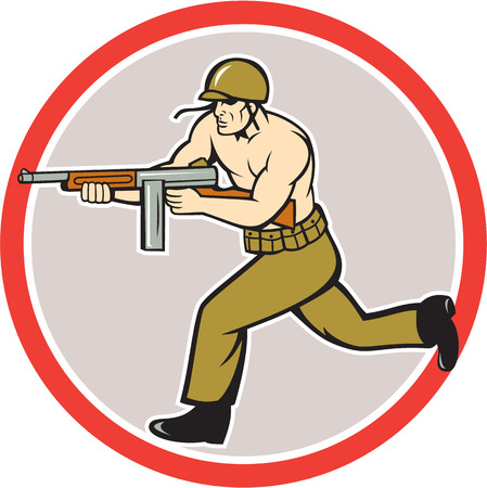 Illustration of a World War two American soldier serviceman running with tommy thompson sub-machine gunon isolated white background  done in cartoon style.