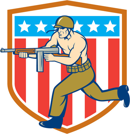 world war two: Illustration of a World War two American soldier serviceman running with tommy thompson sub-machine gun set inside USA stars and Stripes shield in the background  done in cartoon style.