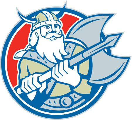 braqueur: Illustration d'un guerrier viking raider barbare � la hache mettre dans le cercle sur fond isol� fait dans le style r�tro.