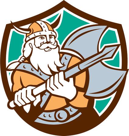 braqueur: Illustration d'un guerrier viking raider barbare � la hache, ensemble, int�rieur bouclier cr�te sur fond isol� fait dans le style r�tro. Illustration