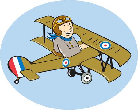 fighter pilot: Illustrazione di un britannico guerra mondiale dell'aviazione un pilota che vola a Sopwith Camel Scout che � una monoposto aerei da combattimento aeroplano fatto in stile cartone animato.