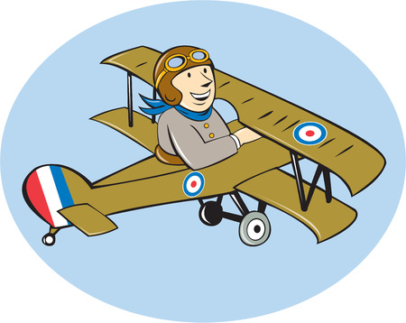 Illustration of a British airforce world war one pilot flying a Sopwith Camel Scout which is a single-seat fighter aircraft propeller airplane done in cartoon style. Illustration