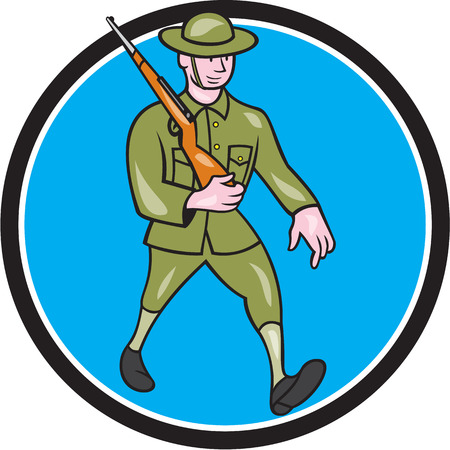 british army: Illustration of a World War one British soldier serviceman marching with assault rifle viewed from side set inside circle on isolated background  done in cartoon style.