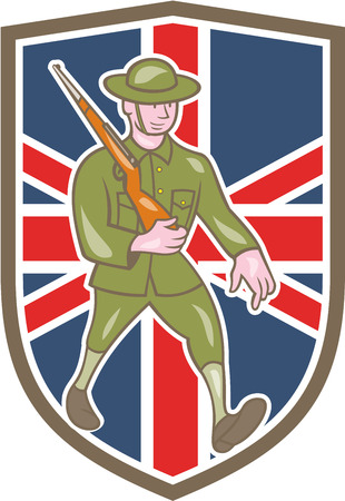 assault rifle: Illustration of a World War one British soldier serviceman marching with assault rifle viewed from side set inside shield with UK British flag in the background done in cartoon style.