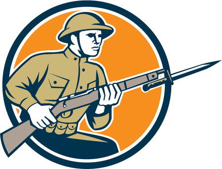 assault rifle: Illustration of a World War One American soldier serviceman with assault rifle fixed bayonet viewed from side set inside shield with American Stars and stripes flag on isolated white background  done in retro style.