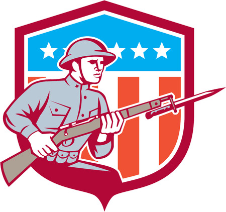 serviceman: Illustration of a World War One American soldier serviceman with assault rifle fixed bayonet viewed from side set inside shield with American Stars and stripes flag on isolated white background  done in retro style.