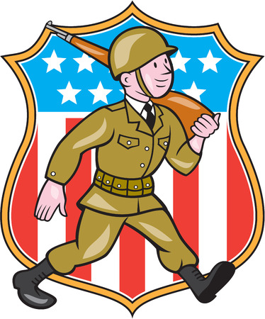 world war two: Illustration of a World War two American soldier serviceman marching with assault rifle viewed from side set inside shield with American Stars and stripes flag in the background done in cartoon style.