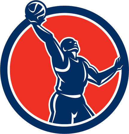 man side view: Illustration of a basketball player  Illustration