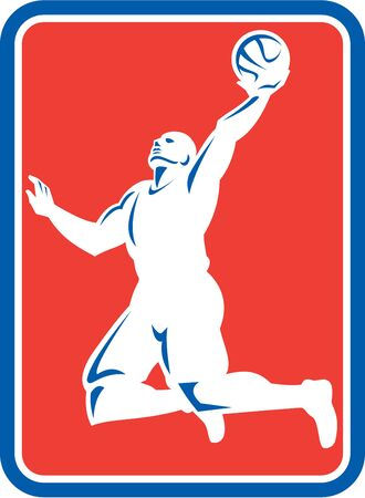 layup: Illustration of a basketball player Illustration