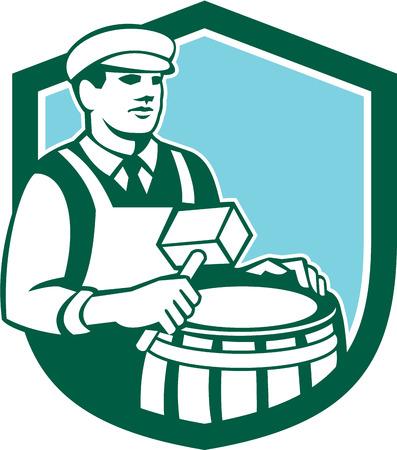 cooper: Illustration of a cooper barrel maker