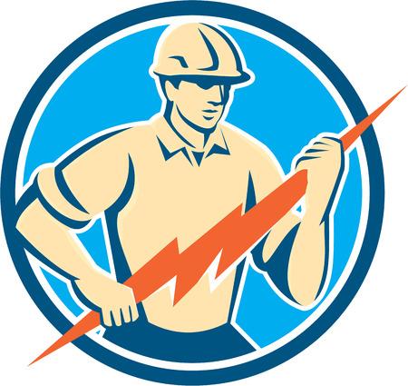 Ilustración de un trabajador de la construcción electricista sosteniendo un rayo se ve desde el tren delantero dentro del círculo hecho en estilo retro en el fondo aislado. Foto de archivo - 35641167