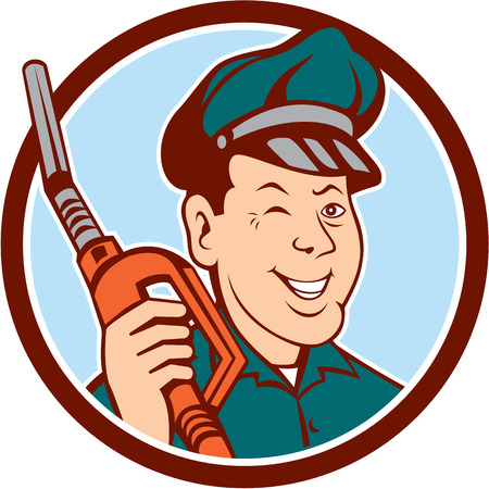 Illustration of gas gasoline fuel attendant worker winking smiling holding fuel pump nozzle