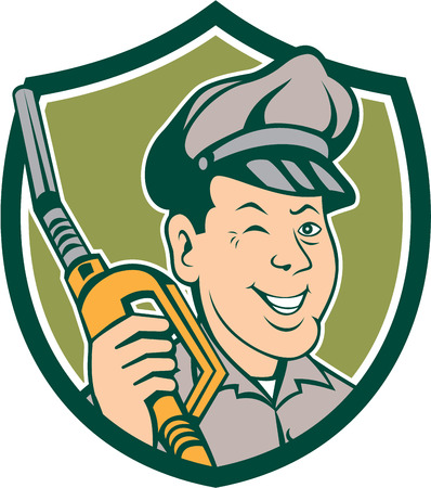 gas pump: Illustration of gas gasoline fuel attendant worker winking smiling holding fuel pump nozzle