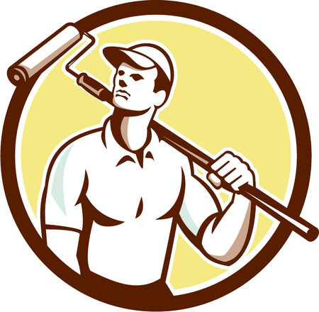 house painter: Illustration of a handyman house painter holding paint roller