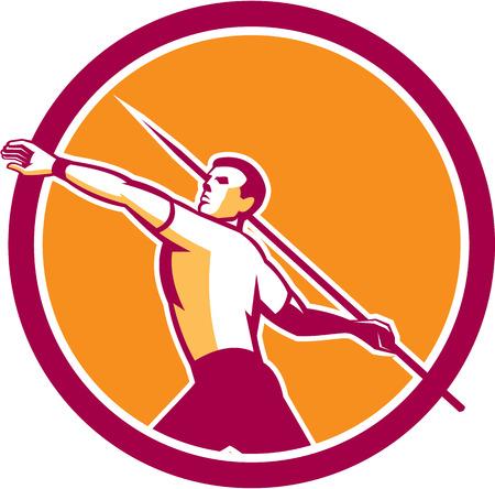 lanzamiento de jabalina: Ilustración de un atleta del atletismo Jabalina ve desde el lado Vectores