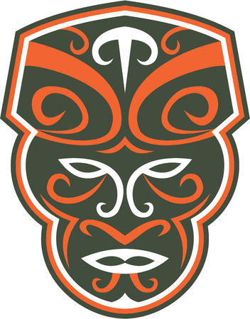 facing: Illustration of a traditional maori mask face facing front on isolated white background done in retro style.