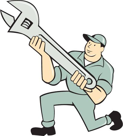 kneeling: Illustration of a mechanic kneeling holding spanner  Illustration
