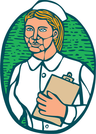 woodblock: Illustration of a nurse holding clipboard  Illustration