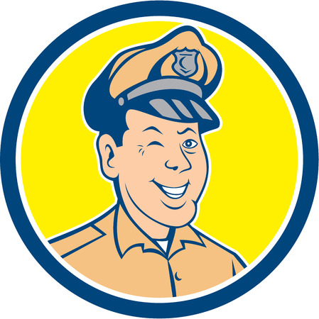winking: Illustration of a policeman police officer  Illustration