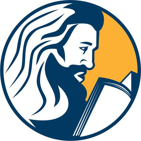 bible book: Illustration of Saint Jerome reading bible book
