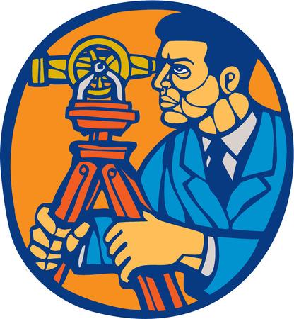 linocut: Illustration of a surveyor geodetic engineer