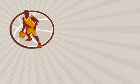 dribbling: Business card showing illustration of a basketball player dribbling ball facing front set inside oval on isolated white background.