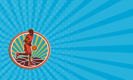 dribbling: Business card showing illustration of a basketball player dribbling ball facing front set inside circle with ball and sunburst on isolated white background.
