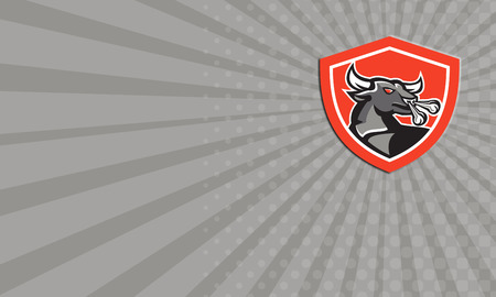 raging bull: Business card showing illustration of an angry raging bull head facing to side set inside crest shield done in retro style.