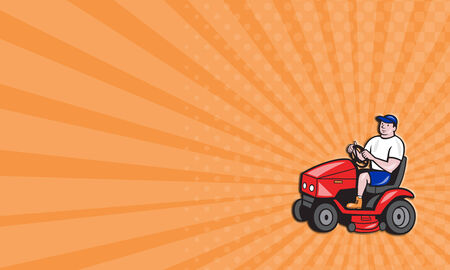lawn mowing: Business card showing illustration of male gardener riding mowing with ride-on lawn mower facing side done in cartoon style on isolated white background. Stock Photo