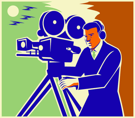 filmmaker: Illustration of a cameraman filmmaker movie maker with vintage movie camera