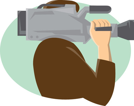 cameraman: Illustration of a cameraman holding movie video camera on shoulder viewed from the side done in retro style.