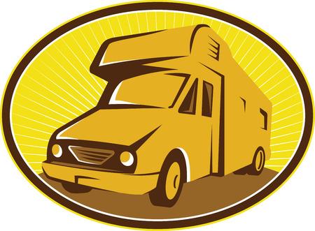 mobilhome: Illustration de campeur van mobile home vu de jeu avant l'int�rieur ellipse sunburst fait dans le style r�tro. Illustration