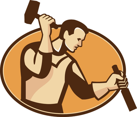 tradesman: Illustration of a carpenter sculptor worker with hammer and chisel viewed from the side set inside oval done in retro style. Illustration