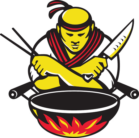 pan asian: Illustration of a japanese cook chef with knife chopsticks and wok on fire on isolated white background done in retro style.