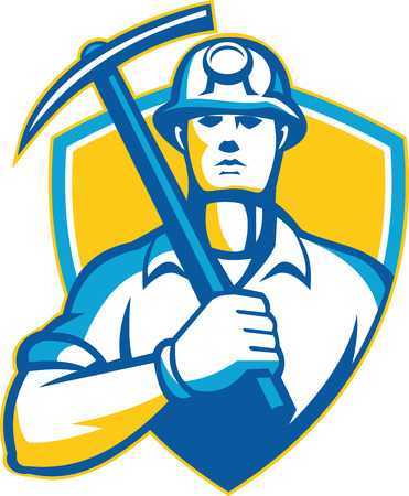 Illustration of a coal miner with pick ax facing front set inside shield done in retro style.