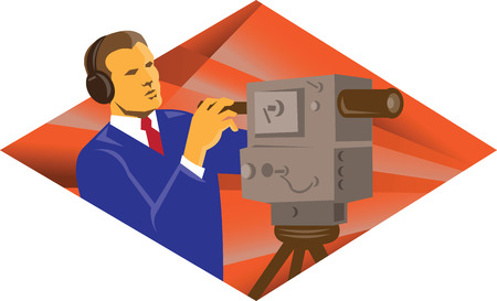 cameraman: Illustration of a cameraman operator with vintage video camera set inside diamond shape done in retro style.