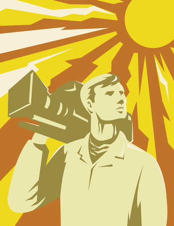 people looking up: Illustration of a cameraman film crew looking up with video camera on shoulder with sun in the background done in retro style.