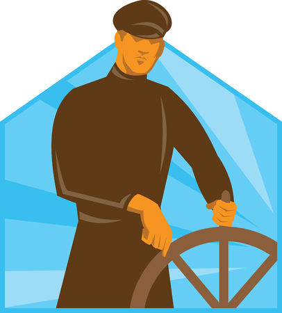 ship captain: Illustration of a ship captain helmsman at the steering wheel viewed from front done in art deco retro style.