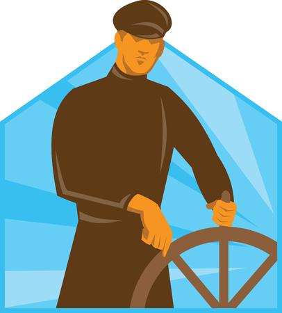 capitan de barco: Ilustraci�n de un timonel barco a capit�n en el volante vistos de frente, hecho en el arte deco estilo retro. Vectores